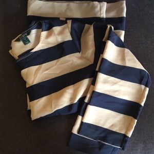 JCrew blouse size S Navy and tan stripe